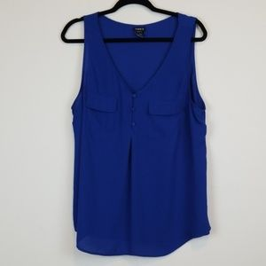 Torrid royal blue Georgette Pocket Tank Top